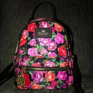 "Juicy Couture ""Charm School""Black Floral Backpack"